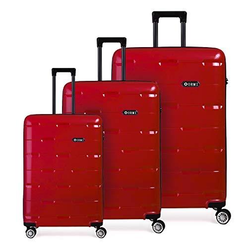 Set valigie da viaggio in Polipropilene - Trolley Rigidi e Leggeri con 4 Ruote - 55x40x22 Bagaglio a Mano/Bagaglio medio/Bagaglio grande da stiva (Rosso, Set di 3 (181L))