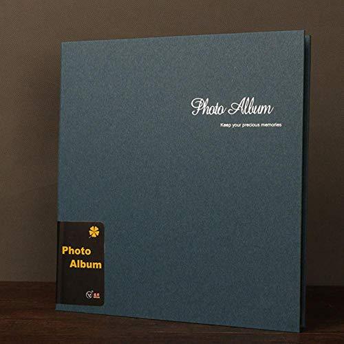 EDCV Fotoalbum DIY zelfklevend plakboek baby koppels herdenkingshuwelijk fotocollectie Retro 12 inchalbum handgemaakt, Blauw