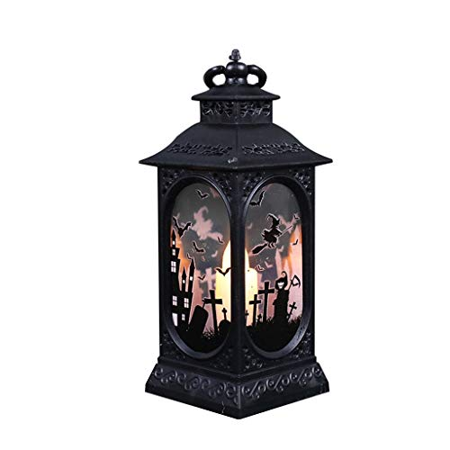 Jedewomi Halloween Decorations Night Light LED Halloween Wind Lantern Ornaments, Flame Effect LED Lantern, Indoor Lanterns Decorative,Outdoor Hanging Lantern,Decorative Candle Lanterns (C)