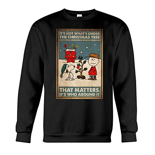 Merry Christmas - Around The Christmas Tree Unisex Sweaters Casual Long Sleeve Crewneck Pullover Sweater Tops, Unisex Heavy Blend Crewneck Sweatshirt Black, White