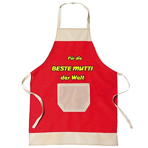 SHIRT-TO-GO BBQ Grillschürze & Küchenschürze in rot Beste Mutti der Welt als Geschenkidee