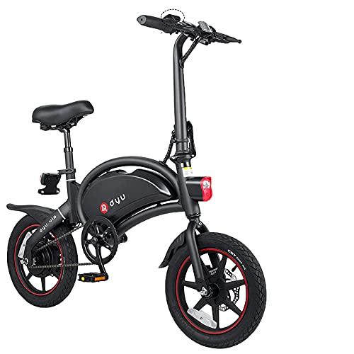 DYU D3+ Bicicletta Elettrica Pieghevole 14 Pollici Bici Elettriche 36V 10ah Bici Elettrica Adulto 360WH con Controllo APP, Display LCD, 3 Modalità di Guida (Nero)
