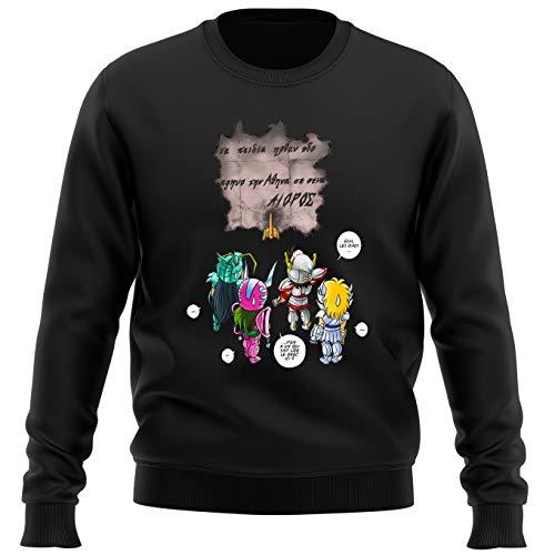 Okiwoki Pull Noir Parodie Saint Seiya - Seiya, Shiryu, Hyoga et Shun dans la Maison d'Aioros - 4 touristes Japonais perdus en Grèce. (Sweatshirt de qualité Premium de Taille L - imprimé en France)
