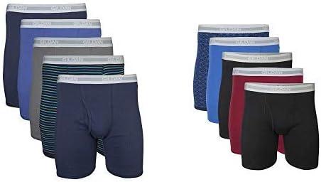 Gildan Men's Regular Leg Boxer Brief 5 Pack, Medium, Mixed Navy Men's Regular Leg Boxer Brief 5 Pack, Medium, Mixed Blue/Grey