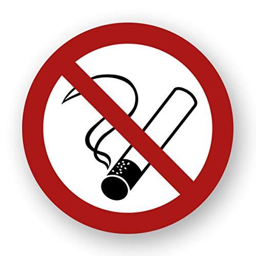 10 Stück XXL Rauchen verboten Aufkleber Ø 21 cm rund mit UV Schutz Warnzeichen für Außen-und Innenbereich Verbotszeichen Rauchen Nicht erlaubt Zigaretten Nicht gestattet von STROBO