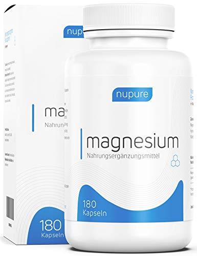 Magnesium - 180 Kapseln mit 360 mg elementares Magnesium - Magnesiumcitrat und Magnesiumoxid, hohe Bioverfügbarkeit, ohne Zusatzstoffe, Nupure TÜV-Note: Sehr Gut