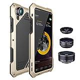 4 In 1 Phoneカメラレンズキット198魚眼レンズ0.63X広角15XマクロレンズIphone X Xs 6 6S 7 8プラスメタルケース、ゴールド、Iphone 8の場合&ストラップ