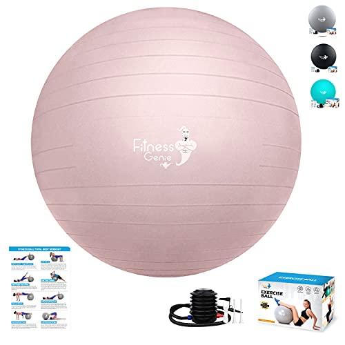Bola de ejercicio de 75 cm con bomba de aire – Pelota de yoga para ejercicios de equilibrio, antiráfagas, resistente al parto, pilates, entrenamiento