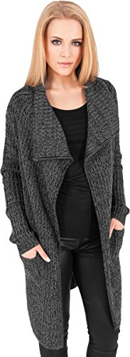 Urban Classics Mantel Knitted Long Cape Abrigo, Negro (Charcoal), Large (Talla del...