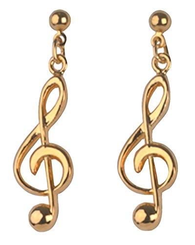 GEWA 980210 - Orecchini unisex a forma di chiave di violino, 4 cm, colore: Oro