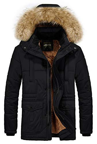 RongYue Men's Winter Thicken Coat Faux Fur Lined Quilted Jacket with Removable Fur Hood, Black, X-Large