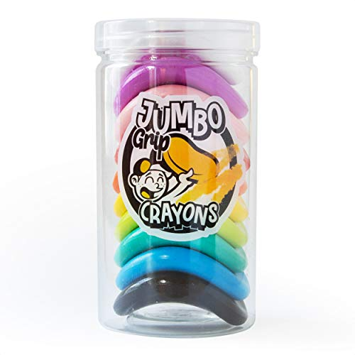 Suck UK Jumbo Grip Colouring Crayons | Toddler Crayons | Non Toxic & Washable | First Art Set | Chunky Crayons | Baby Colouring Set | Pack of 10 Jumbo Crayons
