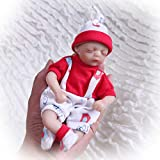 8inch20cm Mini Baby Reborn Doll Vinyl Silicone Cotton Body Realistic Looking Baby Cute Eyes Closed Xmas Gift (Girl)