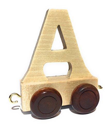 Buchstabenzug | Wunschname zusammenstellen | Holzeisenbahn | EbyReo® Namenszug aus Holz | personalisierbar | auch als Geschenk Set (Buchstabenzug A)
