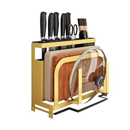 SMX Universal Messenblok zonder messen, keukenmes Holder en Mes Rack Multi-Function Tool Storage Supplies (Color : Yellow)