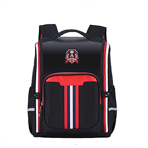 YINST Bolsas escolares para niños, niñas, mochila escolar escolar con diseño reflectante, impermeable, mochila escolar con varios bolsillos para estudiantes, color negro