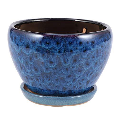 Cabilock Pot en Céramique Planteurs de Fleurs avec Soucoupe Succulente Planteur Bonsaï Pot Planteur Pot de Fleur Décoration de Bureau à Domicile