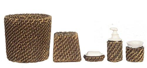 Maison De Poupées Miniature Moderne Osier Ensemble Accessoires Salle De Bain Bin Savon Faire des culbutes 5 pièces