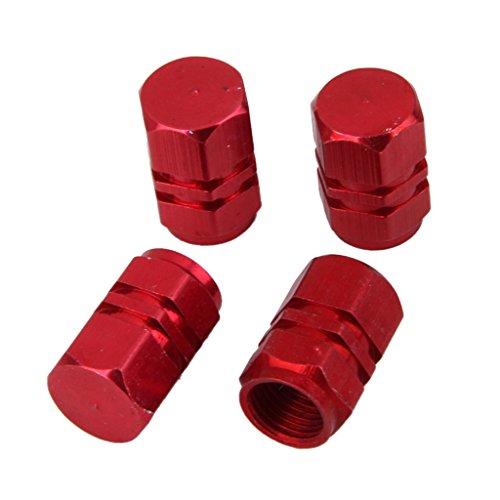 MagiDeal 4x Ventilhülsen, Kappen für Lkw- und Pkw-Reifen aus Aluminium, rot