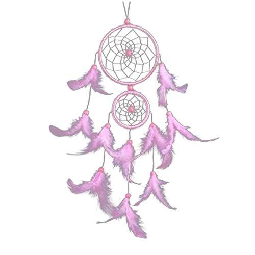 Heall Nouveauté Mesh Dream Catcher Main Pendentif Chimes Style bohème Hanging net Chimes Pour Car- Rose Décoration