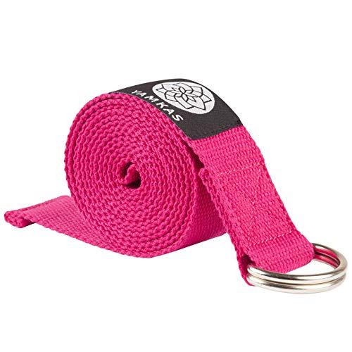 Yamkas Cinghia Yoga | 1.8M - 3M | Cinghie Yoga 100% Cotone | Cintura Yoga con Chiusura in Metallo | Yoga Stretching Belt Strap | Fucsia