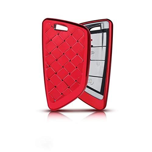 YJLOVK Para la Cubierta de la Caja de la Llave del Coche Forma de Hoja de Estilo de Cristal para BMW X1 X5 X6 F15 F16 F48 BMW Serie 1/2 Chapado Bolsa de Llave de Control Remoto, Cubierta roja