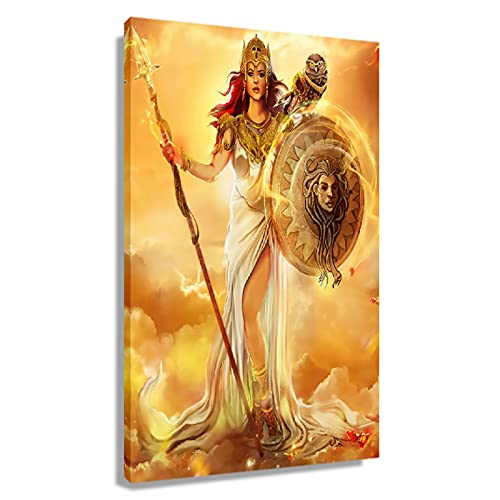 Goddess Athena Wall Decor Aesthetic Posters Painting Canvas Artwork Greek Mythology Decor Pictures for Living Room Wall Decoration Giclee Vertical Canvas Art Prints Unframed 16x24 inch(40x60cm)