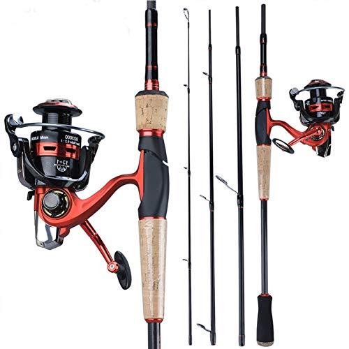 Hong Yi Fei-Shop Barra para Pesca Pesca NewPortable Varilla con Carrete de Giro Combinado de Fibra de Carbono caña de Pescar y girando la Rueda Kit cañas de Pescar (Bundles : 2.4M with BD4000)