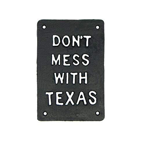 ZMKDLL Rustic Don't Mess Texas Cast Iron Sign Metal Bar Pub Man Cave Garage Wall Decor 8 X 12 Inch Nostalgic Tin Sign