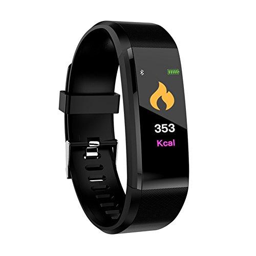 AOTUO Monitor de actividad física con pantalla a color, movimiento Bluetooth, pulsera inteligente de ritmo cardíaco, presión arterial para iOS y Android