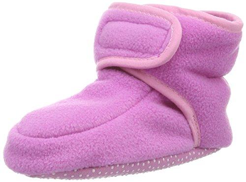 Playshoes Baby-Schuhe aus Fleece, Krabbelschuhe für Mädchen und Jungen mit rutschhemmender Noppen-Sohle, Pink (Rosa), 16/17 EU