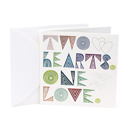 Hallmark Studio Ink Wedding Card or Bridal Shower Card (Two Hearts One Love)