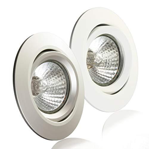 10 Stück Activled Deckeneinbaurahmen aus Aluminium Einbaurahmen schwenkbar für LED und Halogen GU10 MR16 Alu matt AL-902A-10A