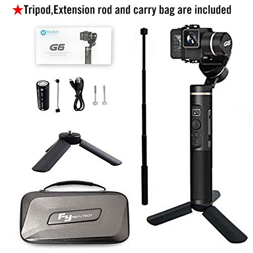 Feiyu G6 Upgraded Vesion Gimbal Stabilizer for Gopro Hero 7/6/5/4 with WiFi Build in Including Tripod and Extension Rod
