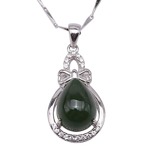 JYX Gem Stone Jade Pendant Necklace for Women Girls Charming 8x11mm Drip-Shaped Green Hetian Jade Pendant in 925 Sterling Silver