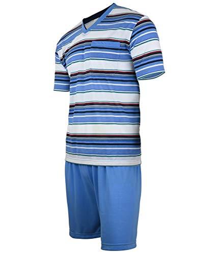 Soltice - Pijama corto de dos piezas para hombre en set, ropa de dormir a rayas de 100% algodón (M hasta 5XL) [M1] Skyblue XXX-Large