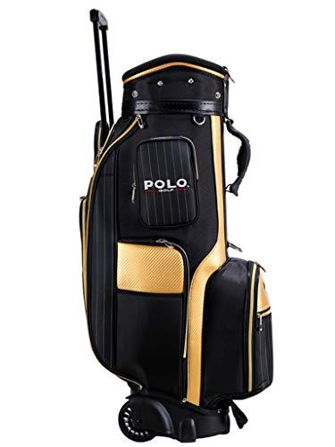 CHENG BAG Golftasche, Wheeled Golfbag Clubtasche Leichtgewicht (Farbe : Black Yellow, größe : 85 * 26 * 34cm)