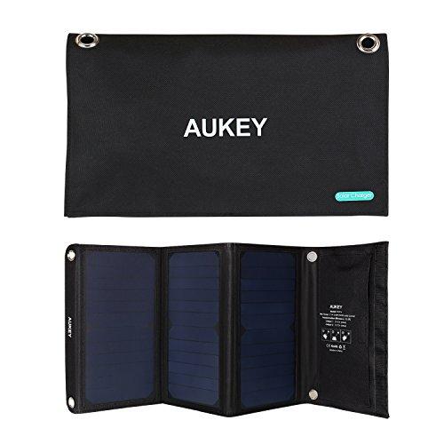 AUKEY Solar Ladegerät 21W mit 2 USB Anschlüsse, 5V 2A Max für jeden Anschluss, Verwendung für iPhone HTC LG Nexus und mehr