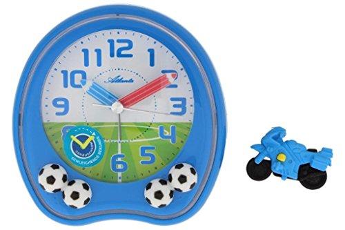 Kinderwecker Fußball blau für Jungen ohne Ticken mit lustigem Radiergummi - Atlanta 1719-5 Rad
