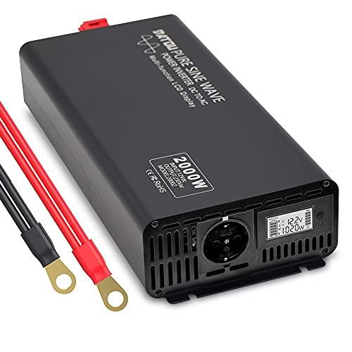 Inverter Onda Pura 12v 220v Power Inverter 2000w 4000W Invertitore di Tensione Fotovoltaico, Convertitore con Display a colori LED per Camper Trasformatore Sinusoidale Pura