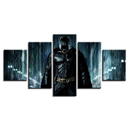 5 Pieces of Batman Art Oil Painting Character Porttrait Canvas Microjet Printing Art Home Living Room Office Wall Decoration-(Size_A)_With_frame