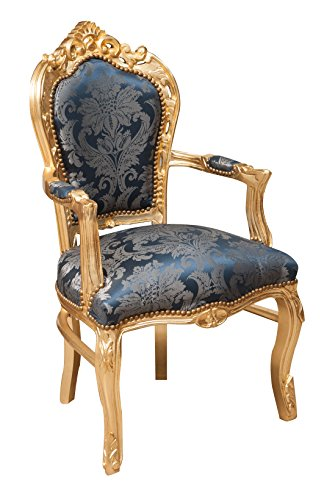 Biscottini Fauteuil style Français Louis XVI en bois de hêtre massif L60 x PR60 x H107 cm