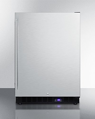 SCFF53BSSIM Frost- free Undercounter Freezer With Icemaker Digital Thermostat Stainless Steel Door Lock and Black Cabinet.