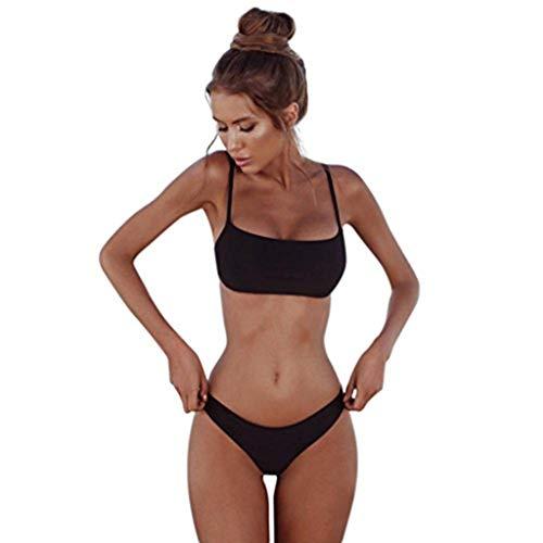 Kobay Frauen Bandeau Bandage Bikini Set Push-Up brasilianische Bademode Beachwear Badeanzug (S, Schwarz)