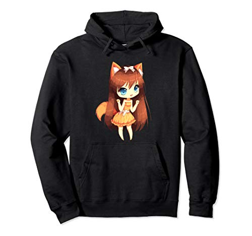 Chibi Style Kawaii Japanese Anime Girl With Fox Ears & Tails Pullover Hoodie