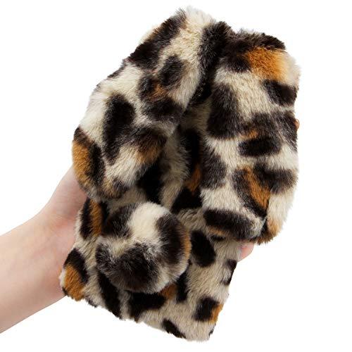 LCHDA Plüsch Hülle für iPhone 7/iPhone 8 Künstlicher Haar Flauschige Kaninchen Handyhülle Mädchen Süße Hasen Ohren Fell Niedlich Handytasche Stoßfest Schützend TPU Silikonhülle - Leopard Beige