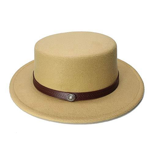 Jiuyue-hats Sombrero Femenino 2019 Sombrero de bombín, Retro Kid Vintage 100% Lana con Borde Ancho Gorra de Cerdo Tartaleta de Porkpie Sombrero de Cuero Macizo (54 cm/Ajustado) Sombrero Femenino