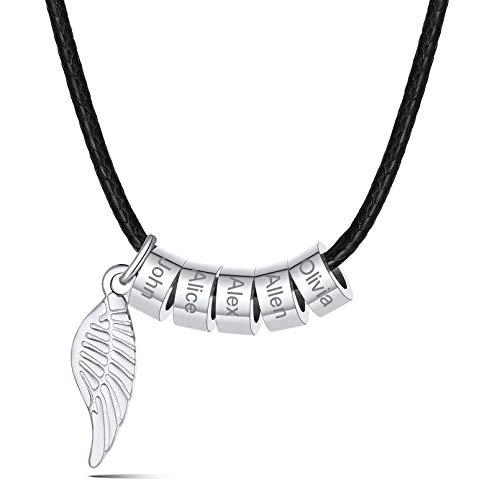 Cordones Trenzados 45cm Collares Personalizados Cuero para Hombres Jovenes 1 2 3 4 5 6 Nombres Grabados en Cuentas Redondas Bead ala Angel Regalo DIY para Día Padre