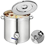 Mophorn Kettle Stockpot Stainless Steel Lid & Thermometer 12.5Gal Home Brew and Stock Pot Cookware, 50 Quart,With Lid & Thermometer