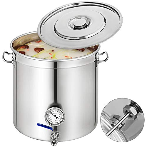 Mophorn Lid & Thermometer 45Gal Home Brew and Stock Pot Cookware, 180 Quart